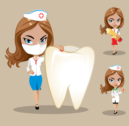 trainee: Woman doctor or nurse in a vector, Set of three female doctors in different poses, vector illustration