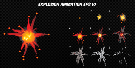 Vector explode. Explode effect animation with smoke. Cartoon explosion frames. Sprite sheet of explosion Illustration