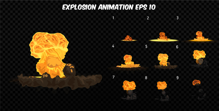 storyboard: Vector explode. Explode effect animation with smoke. Cartoon explosion frames. Sprite sheet of explosion Illustration