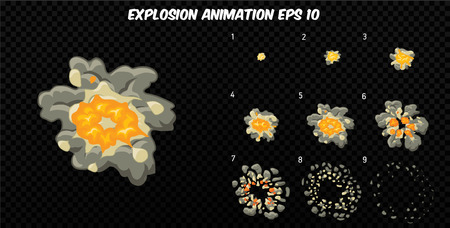 sprite: Vector explode. Explode effect animation with smoke. Cartoon explosion frames. Sprite sheet of explosion Illustration