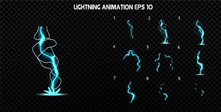 sprite: Explode effect animation with smoke. Cartoon explosion frames. Sprite sheet of explosion. Animation for game or cartoon.