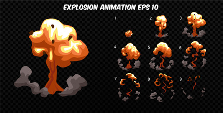 sprite: Vector explode. Explode effect animation with smoke. Cartoon explosion frames. Sprite sheet of explosion Stock Photo