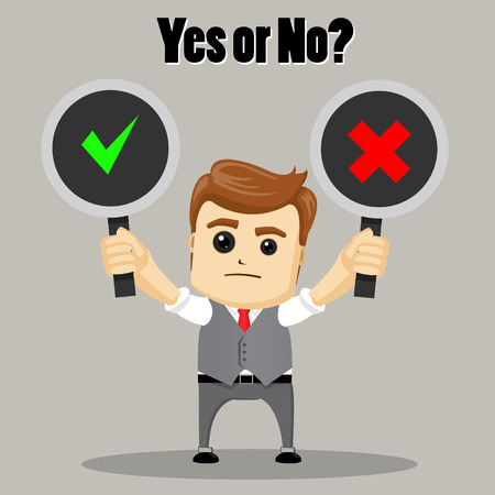 undecided: The businessman chooses between Yes and No. Undecided Businessman Making Decision.