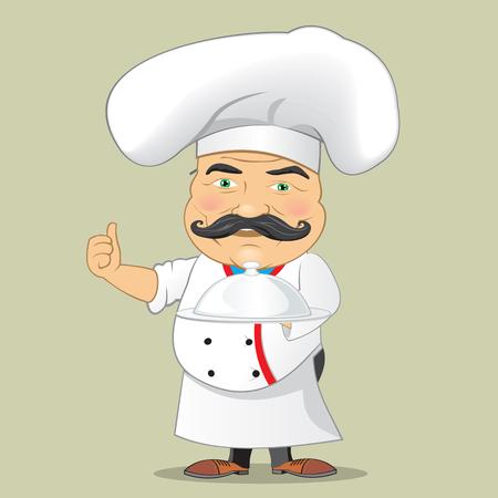 Vector Chef cuisinier Servir de la nourriture Dessinateur de dessins animés réaliste Illustrator Vectorisé isolé