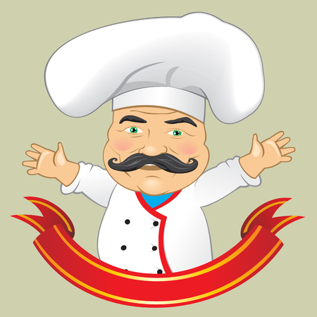 Vector Chef Cook Serving Food Realistic Cartoon Character Design Isolated Vector Illustrator Illustration