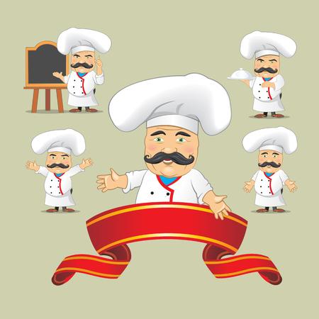 Vector Reihe von Köchen in verschiedenen Positionen. Cartoon Köche kochen und halten Tablett mit Essen Vektorgrafik