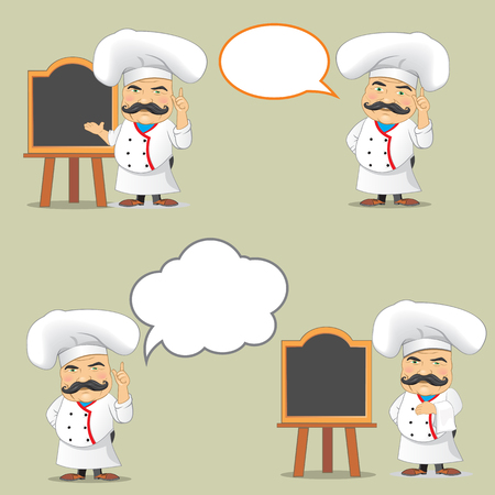 food: Vector set of cooks in different positions. Cartoon chefs cooking and holding tray with food Illustration