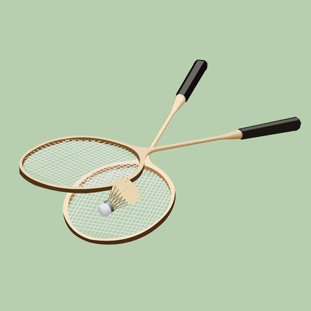 Vector badminton set. Classic wooden racquets rackets and a shuttlecock. Illustration