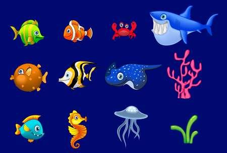 Conjunto grande de dibujos animados coloridos animales de arrecife de moda. Peces, mamíferos, crustáceos. Dolphin y tiburón, pulpo, cangrejo, estrella de mar, medusa. La vida silvestre coralina de los arrecifes tropicales. Ilustración de vector