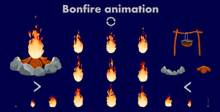 bonfire animation sprites, vector flame video frames for game design, Bright fire flame animation set of different shapes for game design in cartoon style isolated vector illustration