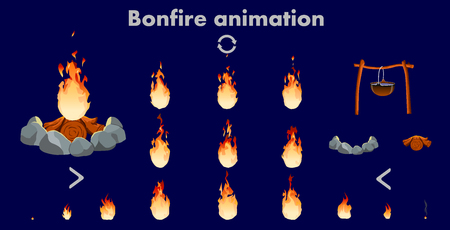 Vector bonfire animation sprites, vector flame video frames for game design