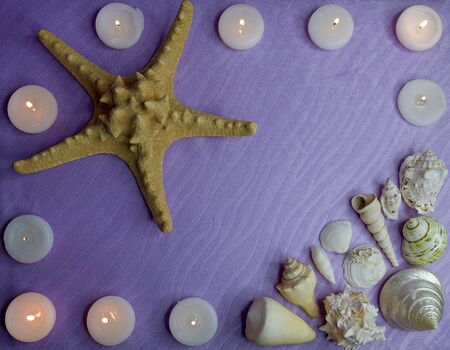 starfish, shells and candles on a purple background