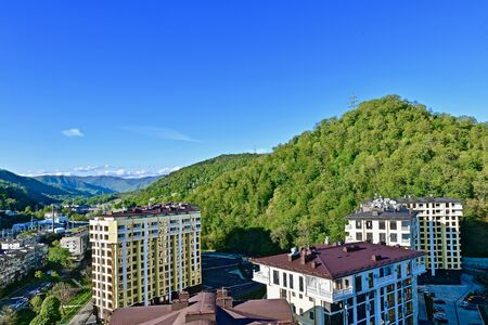 landscape of a southern mountain town in summer 写真素材