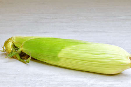 isolated fresh cob of corn in the skin on a light wooden surface