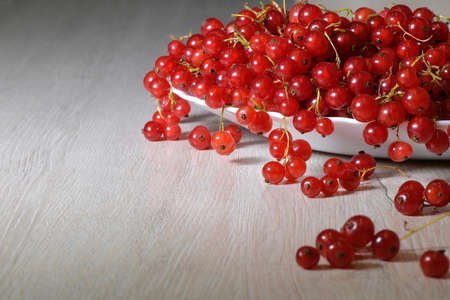 Fresh red currant berries pouring out of white bowl on wooden table