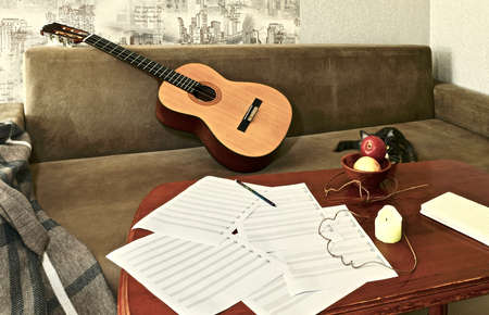 Still life at home with a cat, a guitar on the couch and objects on a coffee table Standard-Bild