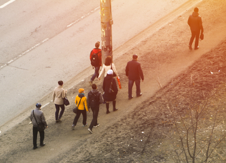 a group of people going to work with a quadrocopter