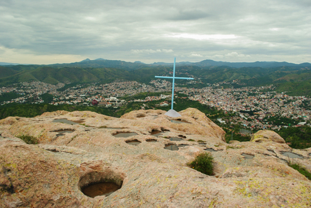 view of the city of Guanajuato, from the summit of the hill of La Bufa, in Mexico
