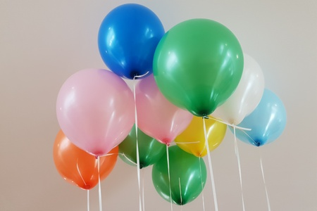 Helium-filled colorful balloons