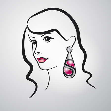earring: Beautiful girl with a large silver ear-ring Illustration
