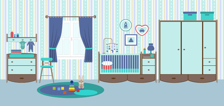 playroom: Baby room with furniture. Nursery and playroom interior.