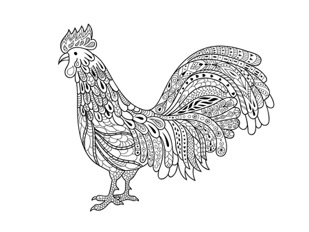 Decorative abstract ornate rooster drawing for adult anti stress coloring page. Illustration