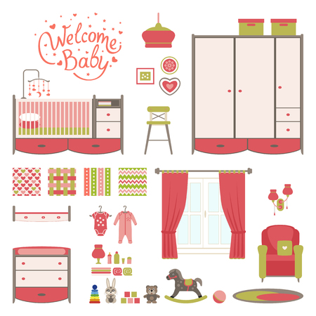 toy chest: Set baby room elements. Nursery and playroom interior. Vector illustrartion. Illustration