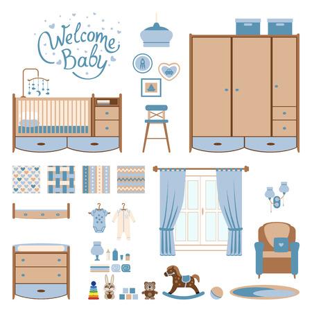 Ensemble des éléments de salle de bébé. Nursery et l'intérieur de la salle de jeux. Vector illustrartion. Vecteurs