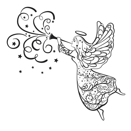 Christmas Angel with the trumpet flying in the sky - vector illustration Stock Illustratie