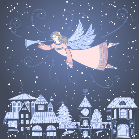 Christmas angel with a trumpet flies over the city Stock Illustratie