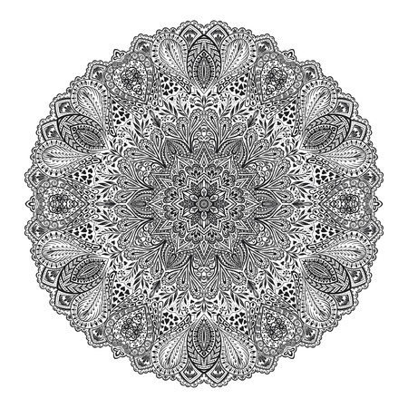 used ornament: Mandala. Round Ornament Pattern. Beautiful ornament can be used as a greeting card. Hand drawn background.