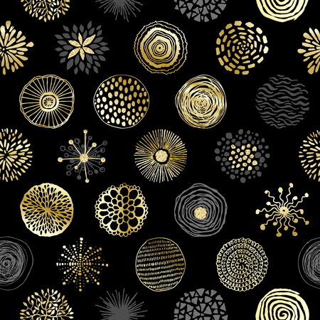 Seamless pattern with hand drawn circles texture. Abstract artistic background. Vector Illustration.