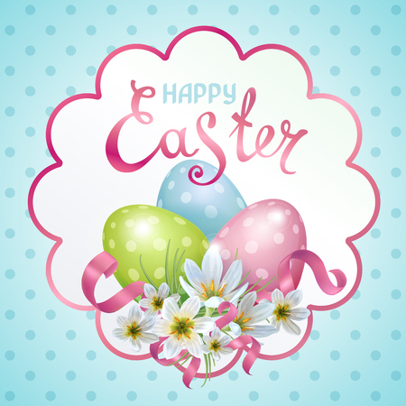 Vector template Easter cards with realistic eggs and flowers Zephyranthes. Lettering, calligraphy.