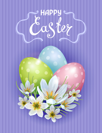 Vector template Easter cards with realistic eggs and flowers Zephyranthes. Purple background. Lettering, calligraphy. Illustration