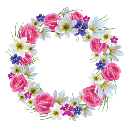 Beautiful floral wreath on a white background. Template for greeting card, wedding invitations. Illustration