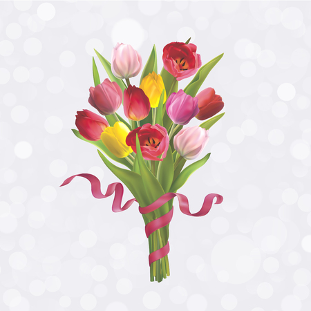 Beautiful bouquet of colorful tulips. Background for postcard on 8 March, Mothers Day, Birthday, Spring Sale and other. Vector illustration in EPS10 format Vettoriali
