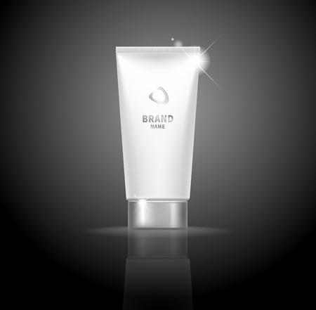 Realistic white tube for cream, peeling gel Vector illustration.