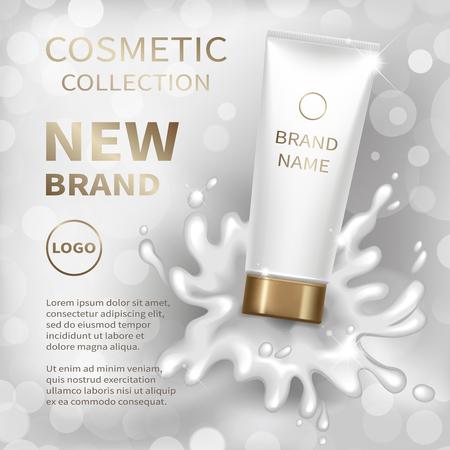 灰色の背景にクリーミー ローション スプラッシュと現実的な白いチューブ。化粧品のモックアップのデザイン。ベクトルの図。 写真素材 - 79935476