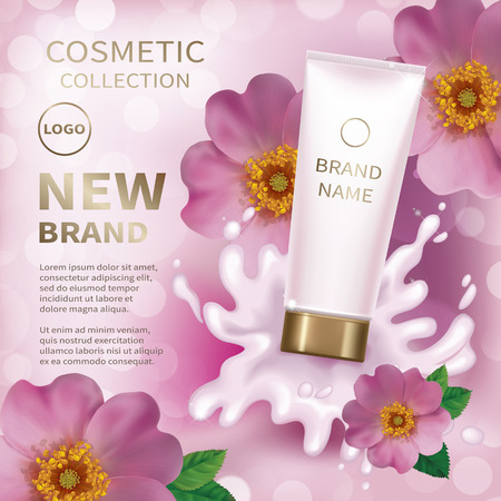 Realistic tube with creamy lotion splash. Background with pink flower of a dogrose. Cosmetic mockup design. Vector illustration.