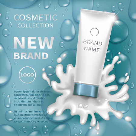 Realistic tube with creamy lotion splash. Blue background with transparent drops of water. Cosmetic mockup design. Vector illustration.