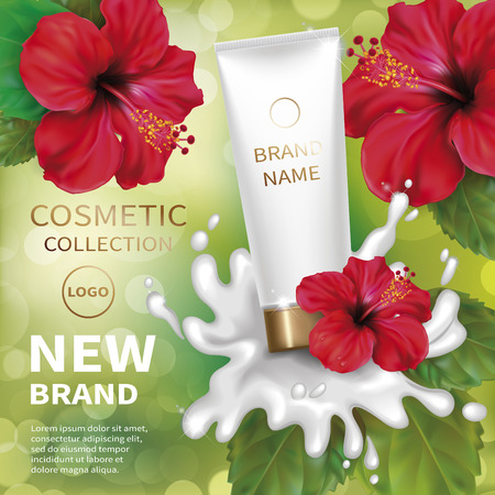 Realistic tube with creamy lotion splash. Background with red tropical flowers hibiscus. Cosmetic mockup design. Vector illustration.