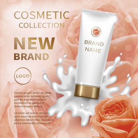 Realistic tube with creamy lotion splash. Background with pastel pink, lightcoral roses. Cosmetic mockup design. Vector illustration.  イラスト・ベクター素材