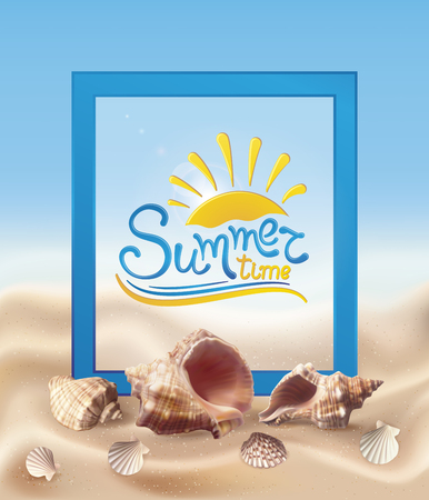 Summer background with realistic seashells on the sand. Vector illustration