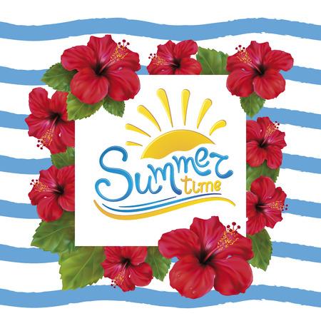Summer background with beautiful blooming tropical flowers of red hibiscus is also called Chinese Rose. Vector Illustration.