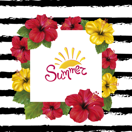 Summer background with beautiful blooming tropical flowers of red and yellow hibiscus is also called Chinese Rose. Vector Illustration.