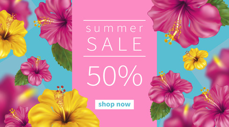 Summer sale background with beautiful blooming tropical flowers of pink and yellow hibiscus is also called Chinese Rose. Vector Illustration. Zdjęcie Seryjne