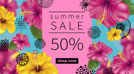 Summer sale background with tropical flowers of pink and yellow hibiscus.  Abstract hand drawn circles texture.