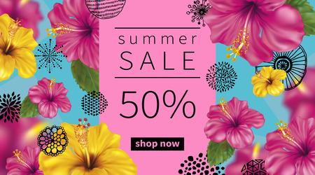 Zomer verkoop achtergrond met tropische bloemen van roze en gele hibiscus. Abstracte hand getrokken cirkels textuur.
