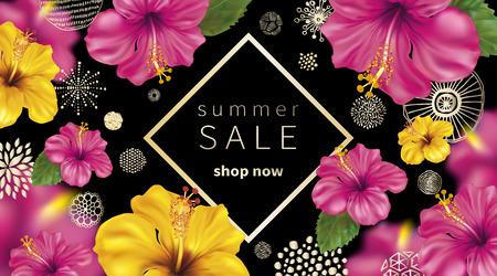핑크와 노란색 히 비 스커 스의 열 대 꽃과 여름 판매 배경. 추상 손으로 그려진 서클 질감.