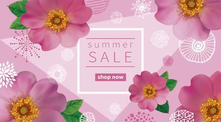 dogroses: Summer sale background with flowers of pink dogroses.  Abstract hand drawn circles texture.